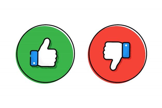 Kciuki w górę i kciuki w dół. lubić albo nie lubić