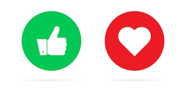 Kciuki w górę i serce ikona na białym tle. ilustracja nowoczesny styl płaski.