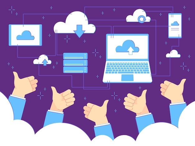 Kciuki w górę opinie. przetwarzanie w chmurze i kopie zapasowe. biznesmen z kciuki gesty. koncepcja biznesowa pracy zespołowej