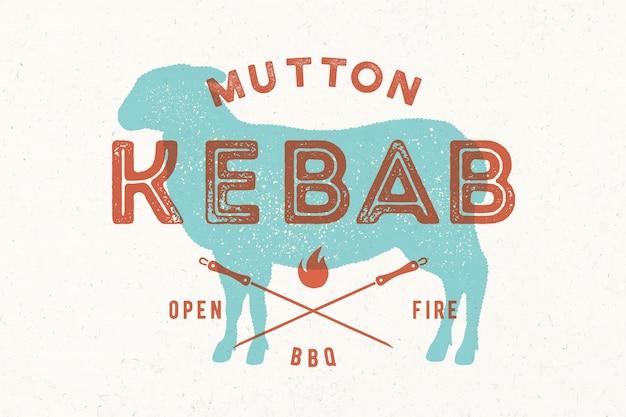 Kebab z jagnięciny. plakat do sklepu mięsnego rzeźnika