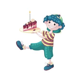 Kędzierzawy chłopiec niesie kawałek tort urodzinowy.