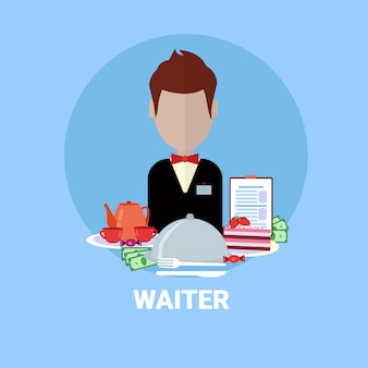 Kelner człowiek ikona restauracja usługi pracownik avatar