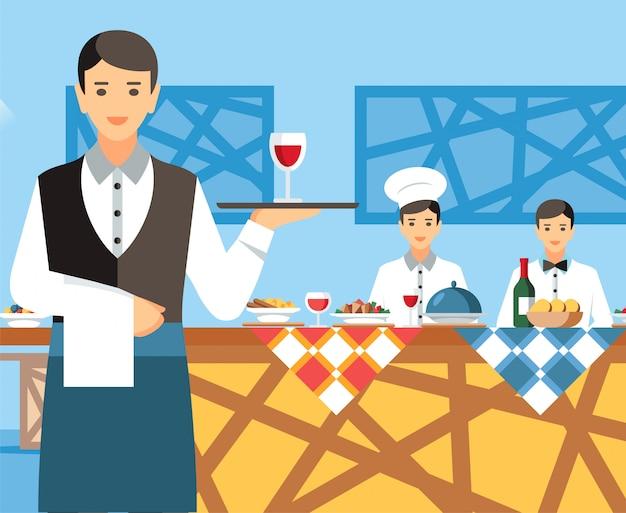 Kelner gospodarstwa obsługujących tacę postać z kreskówki
