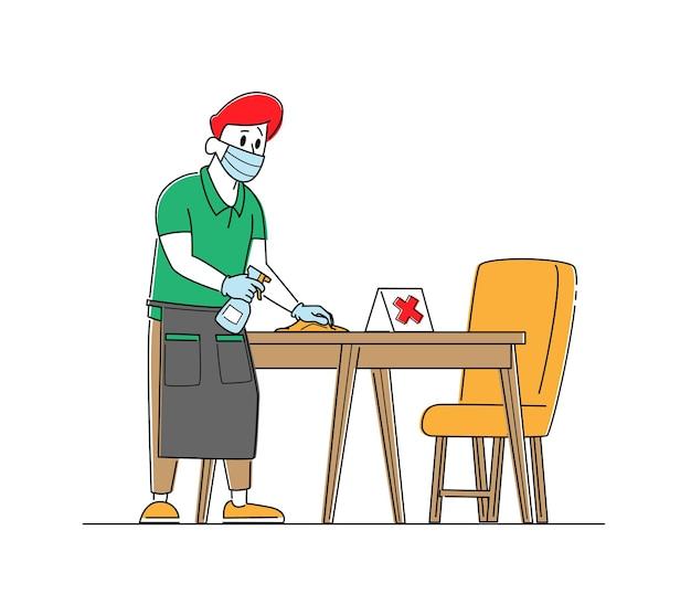 Kelner ma na sobie maskę ochronną i rękawiczki do dezynfekcji stolików w kawiarni lub restauracji