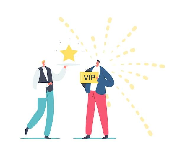 Kelner męski charakter nosić lśniąca gwiazda na tacy dla człowieka z złotą kartą vip w rękach. usługa restauracji privilege dla posiadacza karty platynowej lub złotej, gościnność. ilustracja wektorowa kreskówka ludzie