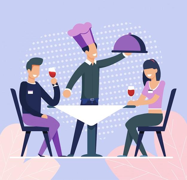 Kelner przyniósł zamówienie żywności do mężczyzny i kobiety w dniu