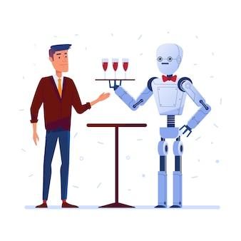 Kelner robot podaje mężczyźnie wino
