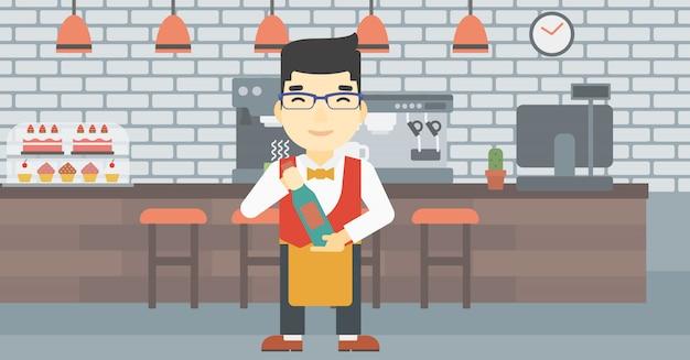 Kelner trzyma butelkę wina ilustracji wektorowych.