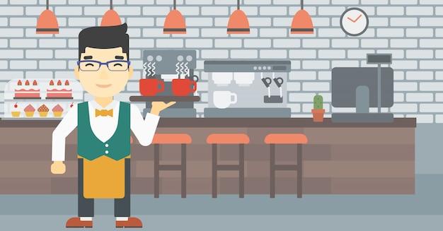 Kelner trzyma tacę z filiżankami coffeee lub herbatą.