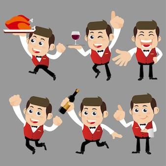 Kelner w różnych pozach