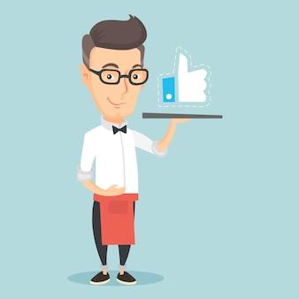 Kelner z podobną guzik wektoru ilustracją.