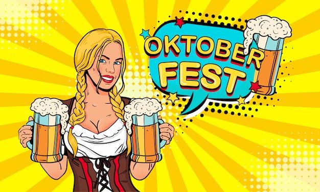 Kelnerka dziewczyna nosi szklanki piwa i dymek wypowiedzi z oktoberfest tekstu