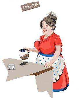 Kelnerka serwująca kawę,