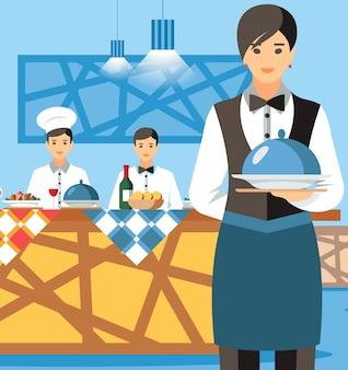 Kelnerka trzyma płyta z pokrywką postać z kreskówki