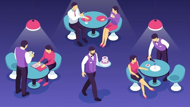 Kelnerzy restauracji podczas obsługi klientów na ciemnym poziomie izometrycznym