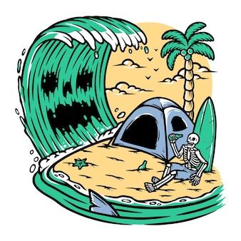 Kemping czaszki na plaży?