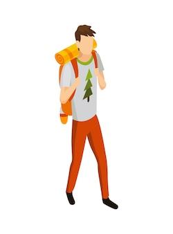 Kemping izometryczny. kolorowy symbol turystyki pieszej. ikona z atrybutami narzędzia lub elementem wyposażenia obozowego
