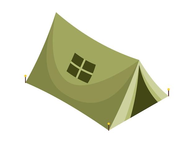 Kemping izometryczny. kolorowy symbol turystyki pieszej. ikona z atrybutami narzędzia lub elementem wyposażenia obozu. namiot turystyczny na białym tle ilustracji wektorowych