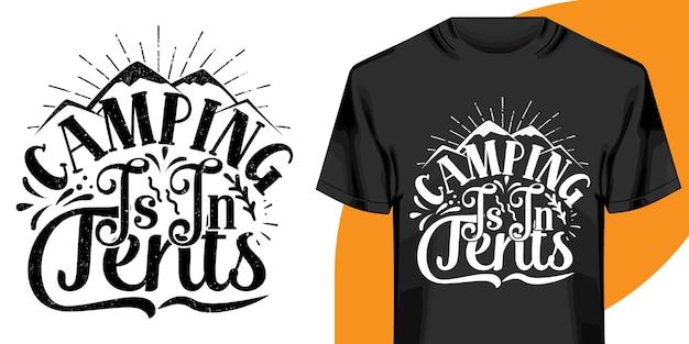 Kemping jest w projekt koszulki namiotów