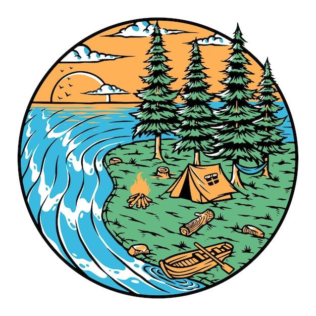 Kemping na wyspie o zachodzie słońca ilustracja