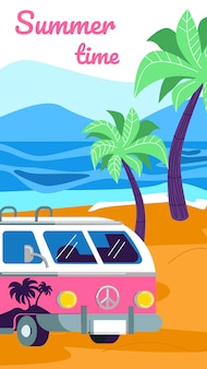 Kemping summertime z samochodem kempingowym na plaży