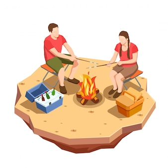 Kemping turystyka skład ikony izometryczny z widokiem na piknik na świeżym powietrzu z ogniskiem i kilka