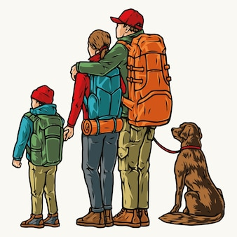 Kemping vintage kolorowa koncepcja z rodziną podróżników i psem stojącymi plecami i patrzącymi w dal na białym tle