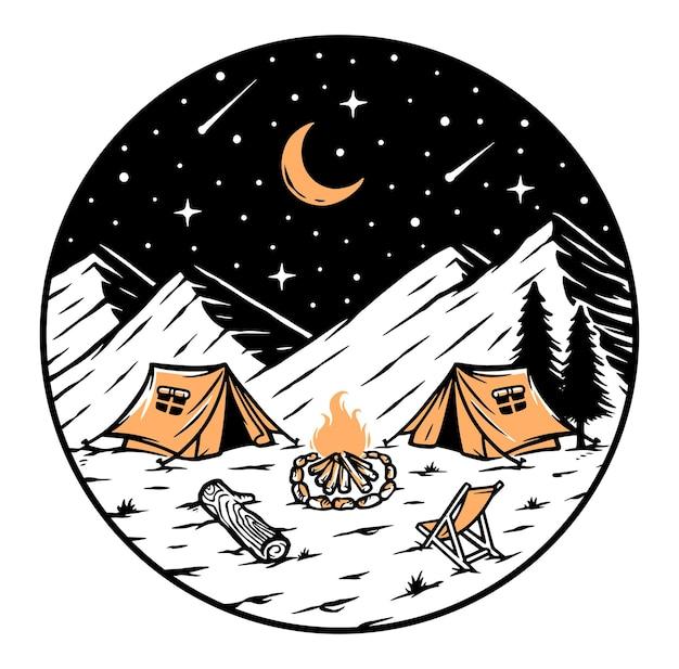 Kemping W Górach W Nocy Ilustracji Premium Wektorów