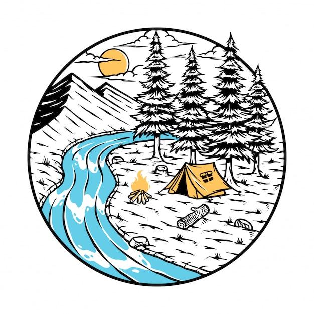 Kemping w ilustracji przyrody