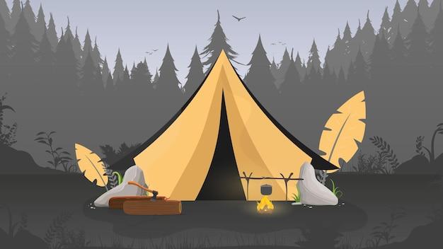 Kemping w lesie. namiot, las, pole namiotowe, kłody, siekiera, ognisko.