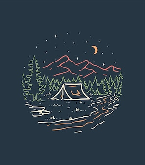 Kemping w lesie to zabawna ilustracja liniowa