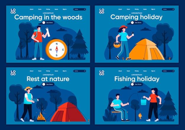 Kemping w lesie zestaw płaskich stron docelowych. podróżowanie z plecakiem i namiotem kempingowym w leśnych scenach na stronie internetowej lub stronie cms. odpoczywaj w przyrodzie, obozując i łowiąc wakacje
