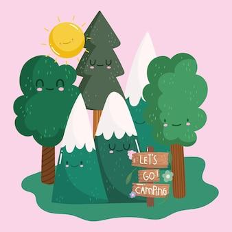 Kemping w zaśnieżonych górach leśnych drzewach i tablica informacyjna w stylu kreskówkowym