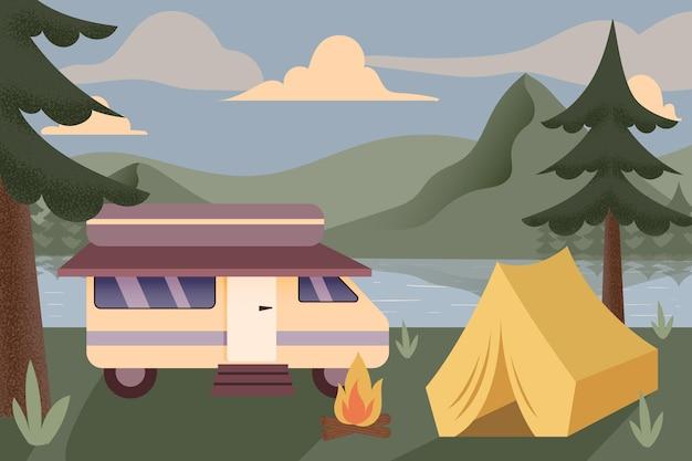 Kemping z przyczepą kempingową ilustracją z namiotem