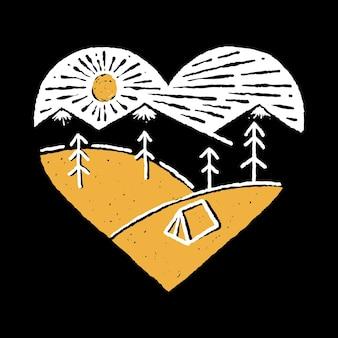 Kempingowa odznaka z dziką linią przyrody