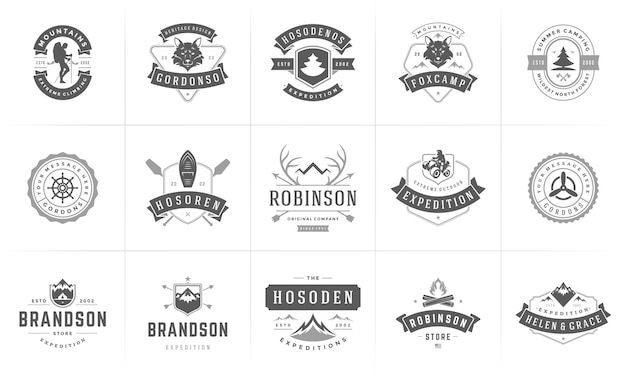 Kempingowe logo i odznaki szablony elementów projektu i sylwetki zestaw