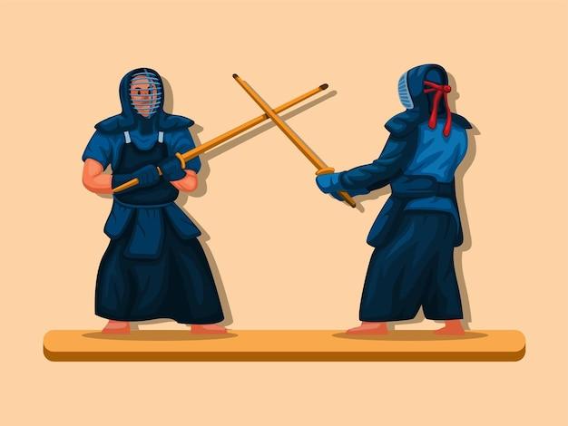 Kendo japońska sztuka walki drewniany miecz bitwa sportowa ilustracja kreskówka wektor