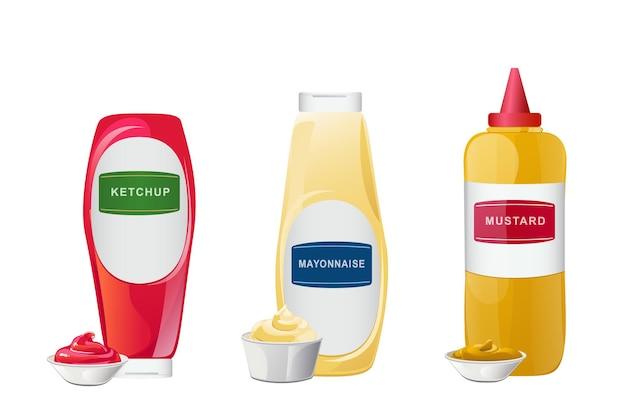 Ketchup, majonez, sosy musztardowe w zestawie w butelkach. realistyczne wektor ilustracja na białym tle.