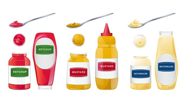 Ketchup majonezowo-musztardowe sosy w butelkach, słoikach i łyżkach, zestaw realistycznych ilustracji wektorowych