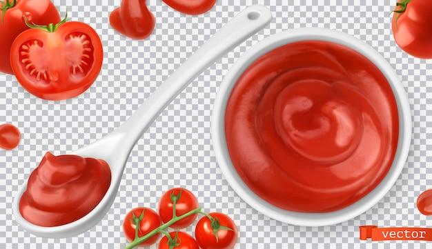 Ketchup, pomidor. zestaw ilustracji sos makaronowy
