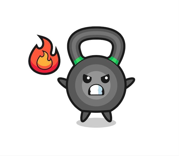 Kettlebell postać z kreskówki z gniewnym gestem, ładny styl na koszulkę, naklejkę, element logo