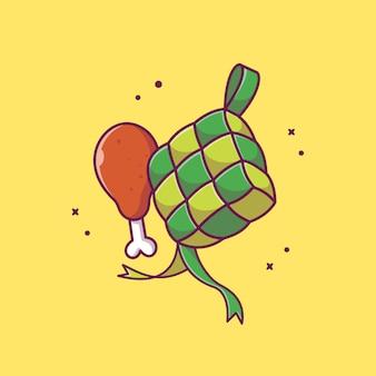 Ketupat ze smażonym kurczakiem ikona ilustracji. ramadan ikona jedzenie koncepcja na białym tle. płaski styl kreskówek