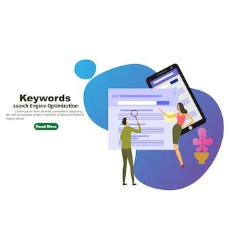 Keywording landing page