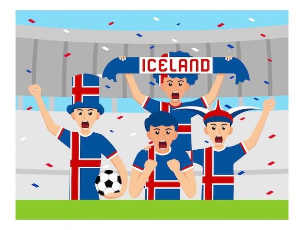 Kibice islandii w płaskiej konstrukcji