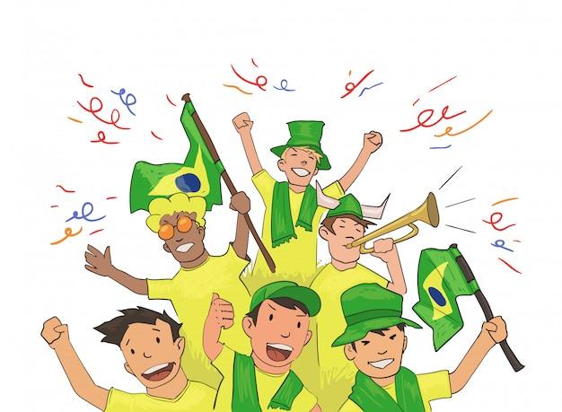 Kibice reprezentacji narodowej dopingują zawodników. fani piłki nożnej z brazylijskimi atrybutami narodowymi. kolorowa ilustracja. poziome na białym tle.