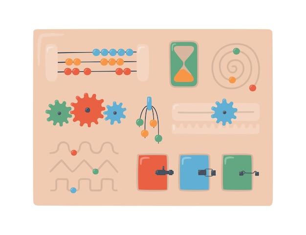 Kid busyboard. dzieci dotykają planszy do gier montessori. edukacyjne zabawki logiczne dla dzieci w wieku przedszkolnym. system montessori dla wczesnego rozwoju dziecka.
