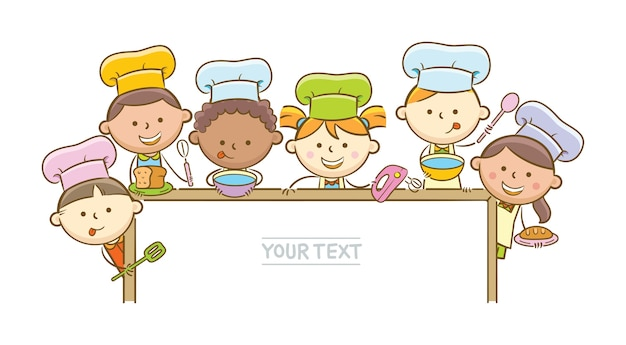 Kid chefs and whiteboard