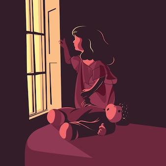 Kid missing daddy illustrations