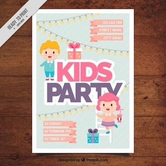 Kid party zaproszenie w płaskiej konstrukcji