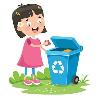 Kid rzucanie śmieci w koszu